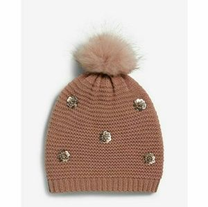 Express Pink Sequined Fur Pom Beanie